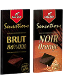 Création de 'Sensations' chocolat Côte d'Or Noir Orange et 'Sensations' Brut 86%.